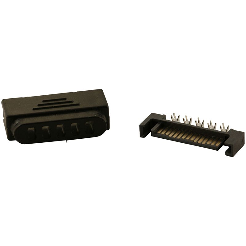 Black Male 15 Pin Sata Power Connector With Cover